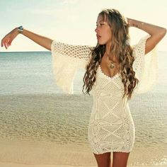 Amazing crochet dress - ANOTHER AMAZING DRESS - would like this in turqoiuse