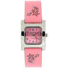 WIW Ladies Analogue Baby Pink Stars Square Dial PU Strap Fashion Watch WW147