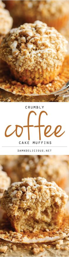 Coffee Cake Muffins - The classic coffee cake is transformed into a convenient muffin, loaded with a mile-high crumb topping!: Coffee Cake Muffins - The classic coffee cake is transformed into a convenient muffin, loaded with a mile-high crumb topping! Delicious Desserts, Just Desserts, Dessert Recipes, Yummy Food, Cake Recipes, Breakfast Recipes, Breakfast Muffins, Tasty, Breakfast Cooking