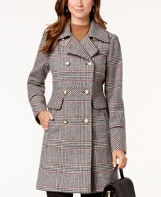 Vince Camuto Wing-Collar Military Coat - Tan/Beige S Plaid Outfits, Fashion Outfits, Coats For Women, Clothes For Women, Wing Collar, Vintage Coat, Warm Coat, Athletic Outfits, Athletic Women