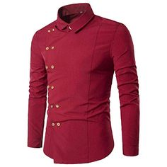 BHYDRY Fashion Personality Men's Casual Slim Long-Sleeved Shirt Cotton Top Shirt Solid Lapel Blouse(M,Red)