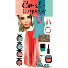 Coral + Turquoise by korriganm on Polyvore featuring polyvore fashion style Patrizia Pepe Vince Camuto Paul Andrew Marchesa Silvia Rossi Kate Spade Kenneth Jay Lane Bobbi Brown Cosmetics MAC Cosmetics Topshop Butter London Beauty maxiskirt makeup summerfashion coralandturquoise