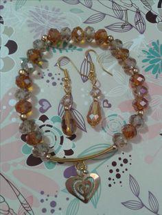 pulsera y aretes color ambar