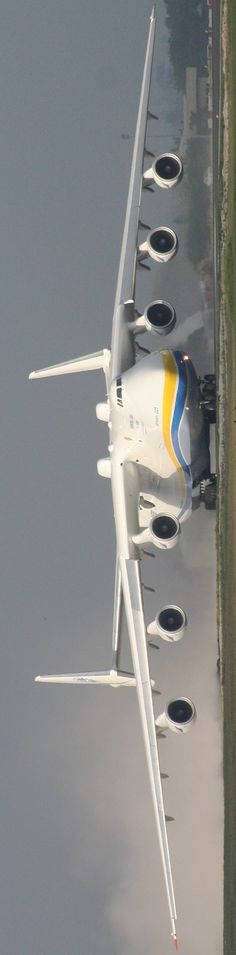 Russian Antonov AN225. It is powered by six turbofan engines and is the largest airplane in the world; it is the heaviest aircraft with a maximum takeoff weight of 640 tonnes.