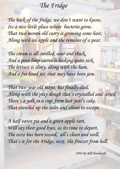The Fridge - Funny Cute Poems Short Funny Poems, Funny Poems For Kids, Poetry Funny, Kids Poems, Kinds Of Poetry, Forms Of Poetry, Love Poem For Her, Love Poems, Funny Love