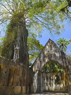 Abandoned Presbyterian Church on Ross Island, Port Blair, South Andaman Island, India.