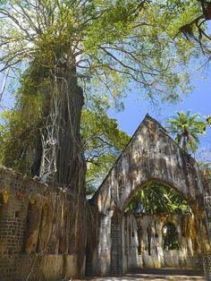 Abandoned Presbyterian Church on Ross Island, Port Blair, South Andaman Island, India.