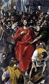 El Greco, El Expolio, 1579, Sacristía de la Catedral de Toledo. El Cabildo de la catedral encontró teológicamente incorrecto que las cabezas de la escolta sobrepasasen la de Cristo. El Greco se inspiró en iconos bizantinos. Obsérvese el contraste entre la quietud y melancolía del rostro del Salvador y los sombríos rostros que le rodean.