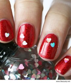 Awesome red nails with hearts  | See more at http://www.nailsss.com