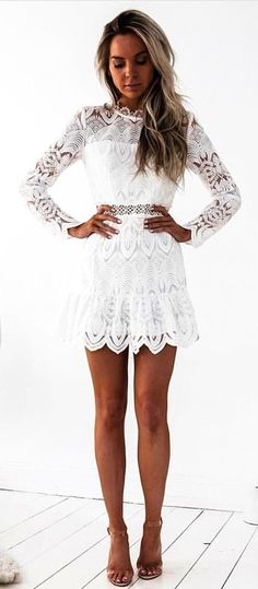 #fall #outfits White Lace Dress + Nude Pumps