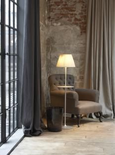 Soft colour palette, the linen combines well with the brick. Notice the oversized confection....
