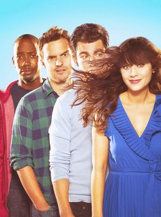 """""""Pictured L-R: Lamorne Morris, Jake Johnson, Max Greenfield, Zooey Deschanel from NEW GIRL on FOX and Netflix."""" Love this show so, so much! Zooey Deschanel, New Girl Cast, New Girl Tv Show, Jake Johnson, Nick Miller, Schmidt, New Girl Series, Tv Series, Fox Tv Shows"""