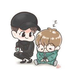 Chanbaek Fanart, Exo Chanbaek, Kpop Fanart, Chanyeol, Exo Cartoon, Exo Fan Art, Xiuchen, Cute Posts, Bts Drawings