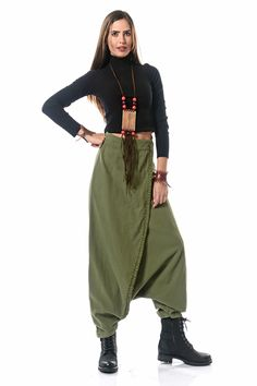 Ethnic Slip-On Baggy Trousers – Khaki – Work Fashion Cotton Harem Pants, Baggy Trousers, Work Pants, Khakis, Jeans Style, Pattern Fashion, Women's Fashion Dresses, Pants For Women, Casual Outfits