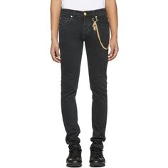 Pierre Balmain Black Chain Jeans ($515) ❤ liked on Polyvore featuring men's fashion, men's clothing, men's jeans, black, mens low rise slim fit bootcut jeans, mens patched jeans, mens faded jeans, mens slim fit jeans and mens button fly jeans