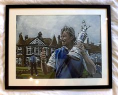 Ernie Els with Open Championship Trophy 2. Acrylic Sketch by Mark Robinson. For sale. Framed. #golf #art #dubai #racetodubai #mydubai Note: Visit the Mark Robinson website for more details for available stock, commissions, exhibitions or tournament enquiries - www.robinsongolfart.com Ernie Els, Golf Art, European Tour, Exhibitions, Dubai, Sketch, Paintings, Website, Note