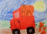 """Artsonia Art Exhibit :: 1st Pumpkin Trucks. """"Too Many Pumpkins"""" is one of my all-time favorite books. This is one of my most favorite projects to do with the littles. They cut two squares at a time into cirlces and are AMAZED at what it does. The broken pumpkin on the road was actually the idea of one of my kids, not mine. But it makes sense as that's what happens in the story. Love this project!"""