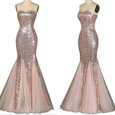 Strapless Mermaid Long Sparkly Rose Gold Prom Dress  Contact me: modseley.com@outlook.com please email which color you want after or before you place the order. Also you can put down your color or size or date requirement in the note box when you check out.  1. Besides the picture color,