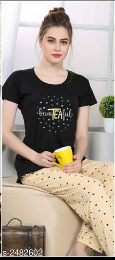 Trendy Cotton Printed Women's Night Suits Vol 6 Fabric: Cotton Sleeves: Sleeves Are Included Size: Top - M - 38 in, L- 40 in, XL- 42 in. Night Suit, Night Wear, Girls Night Dress, Girls Dresses, Nursing Tunic, Cute Pajamas, Girl Poses, Beauty Queens, Wedding Shoes