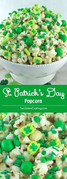 St. Patrick's Day Popcorn - a fun St. Patrick's Day treat. Sweet, salty, crunchy and delicious and it is so easy to make. You won't need the luck of the Irish to make this easy St. Patrick's Day dessert. Pin this great Popcorn recipe for later and follow us for more fun St. Patrick's Day Food ideas.