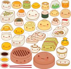 """Buy the royalty-free Stock vector """"Collection of lovely baby chinese oriental food doodle icon,"""" online ✓ All rights included ✓ High resolution vector f. Cute Food Drawings, Cute Kawaii Drawings, Cartoon Drawings, Hand Doodles, Posca, Barbie Paper Dolls, Doodle Icon, Food Wallpaper, Oriental Food"""