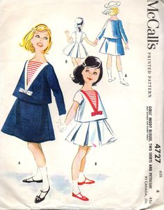 McCalls 4727 1950s  Girls Sailor Middy Blouse Pleated or Gored Suspender Skirt  nautical childs vintage sewing pattern by mbchills