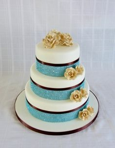 Teal, gold and chocolate brown wedding cake By rearly on CakeCentral.com  So cute!!