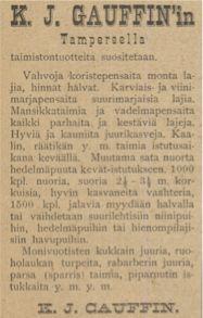 K.J. Gauffinin taimitarhan ilmoitus