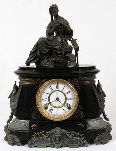 Reloj de mesa ANSONIA , MÁRMOL NEGRO y MATAS c. 1880