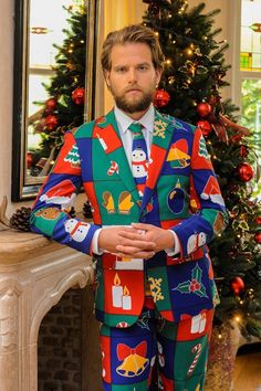 tacky christmas costumes Touch Me Twice Naughty or Nice Patchwork Ugly Christmas Sweater Dress Suit by Opposuits Christmas Suit Jacket, Mens Christmas Suit, Ugly Christmas Sweater Suit, Ugly Sweater Party, Christmas Sweaters, Christmas Clothing, Christmas Jumpers, Tacky Christmas Party, Christmas Costumes