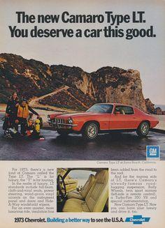 1973 Chevy Camaro Type LT Car Ad Vintage Advertising Chevrolet Red Muscle Car & Scuba Diving Family Zuma Beach California Print Wall Art