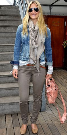 Gray skinnies, white long sleeve T, gray scarf, jean jacket
