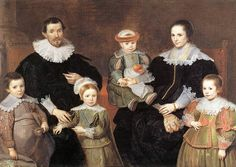 Pudding-padded cap, fallen collars called Bertha, open sleeve with visible undershirt/lining, folded back cuffs, skirt like extension on doublet File:Cornelis de Vos - The Family of the Artist - WGA25307.jpg