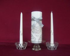 Unity candle /Silver Crystal Swirls with Matching Tapers