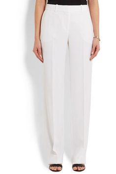 Givenchy - Wide-leg Tuxedo Pants In White Satin-crepe - FR40