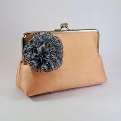 Large Bridal Clutch / Purse in Apricot Dupion Silk by sallyandjane, $45.00