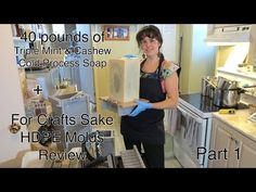 ▶ Making Bigger Batches of Cold Process Soaps! (40 pounds) Part 1 - YouTube   Wow!  Ariane and 40 1lbs of soap!
