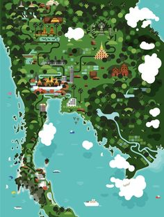 Monocle Thailand Travel - Editorial Illustrations. Studio Hey from Barcelona, Spain has worked frequently for the popular Monocle magazine. They often crea