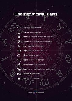 Fatal flaws according to your zodiac sign. Zodiac Signs Chart, Scorpio Zodiac Facts, Gemini Quotes, Zodiac Sign Traits, Zodiac Signs Astrology, Zodiac Memes, Zodiac Star Signs, Zodiac Quotes, Aquarius Horoscope