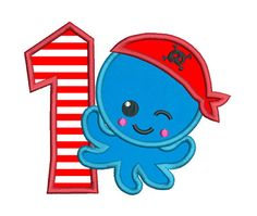 Pirate Octopus 1st Birthday Applique Embroidery Design, Cute Baby Octopus Machine Embroidery, 4x4, 5x7, 6x10, INSTANT DOWNLOAD, No: FA562-1