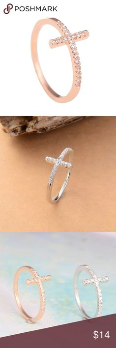 Sideways Cross Ring Rose Gold or Platinum New in sealed packaging. Choose either platinum or rose gold plated sideways cross ring with crystals. Sizes 5-10. Makes a great gift. FREE GIFT BOX INCLUDED. Jewelry Rings