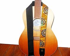 Hand Beaded Guitar Strap of Half Circles on Gold Satin by Meoneil, $75.00