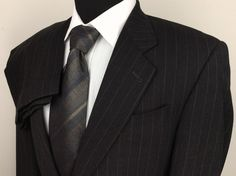 JACK VICTOR Montreal Mens 40R Expresso Brown Striped 2-Button Suit Pleated Pants #JackVictor #TwoButton $112.49