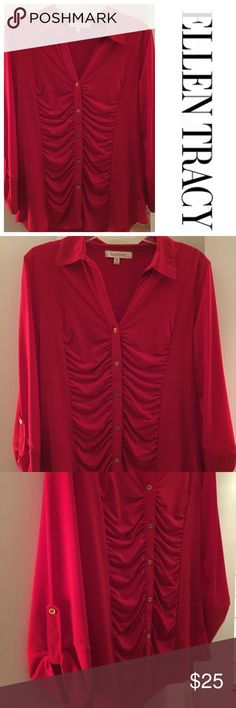 Ellen Tracy Button-down Ruched Blouse Very good used condition - this red blouse is fitted with a collar, v-neck, pretty gold buttons and a ruched bodice. The shirt is stretchy and fits right to the body. Sales only, no trades please. Ellen Tracy Tops Blouses