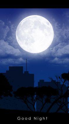 night, city, buildings, shadows, trees