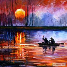 FISHING ON THE LAKE — PALETTE KNIFE Oil Painting On Canvas By Leonid Afremov. bid starts from 1 USD