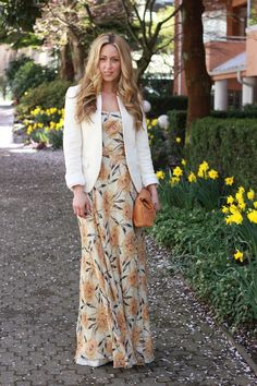 maxi dress with blazer