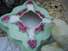 Antique Ladies Victorian Hair Reciever Porcelain Vintage Vanity Home Decor Porcelain Collectible