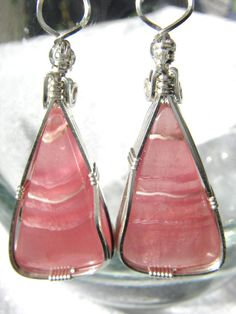 Rhodochrosite and Sterling Silver Earrings by thanksloveart, $95.00