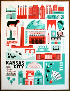 KC Landmark Print (Spearmint and Safety Red edition)